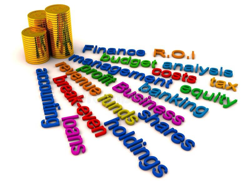 finansowi kolaży słowa royalty ilustracja
