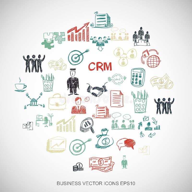 Finansowi Multicolor doodles Wręczają Patroszone Biznesowe ikony ustawiać na bielu EPS10 wektorowa ilustracja ilustracja wektor