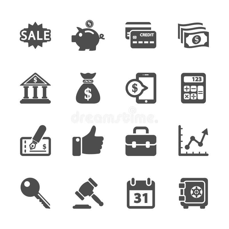 Finansowy i biznesowy ikona set, wektor eps10 ilustracji