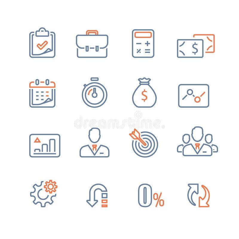 Finansowy ikona set, biznesowa pożyczka, firma dochodu raport, analityka infographic, targowy przyrost, roczna zapłata, korporacy royalty ilustracja