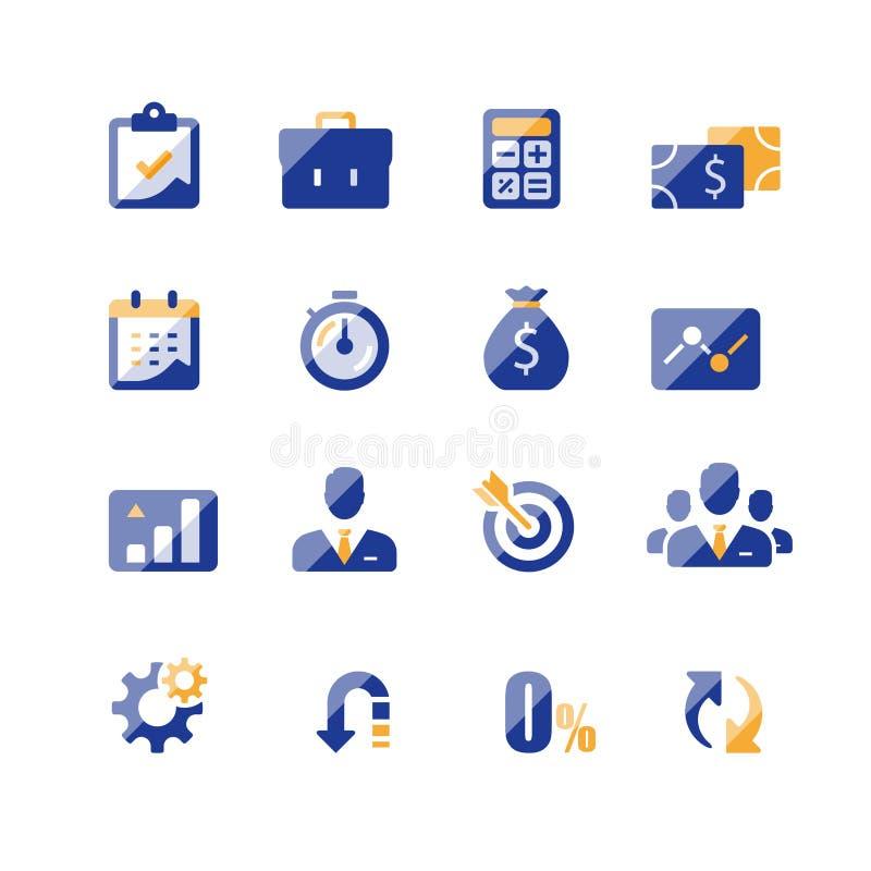 Finansowy ikona set, biznesowa po?yczka, firma dochodu raport, analityka infographic, targowy przyrost, roczna zap?ata, korporacy royalty ilustracja