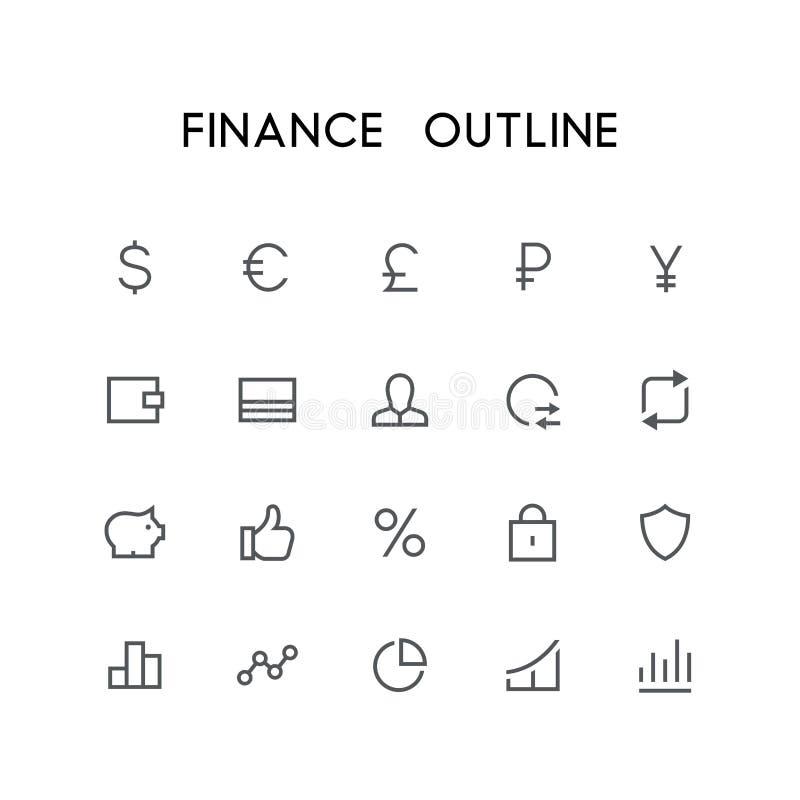 Finansowy kontur ikony set ilustracja wektor