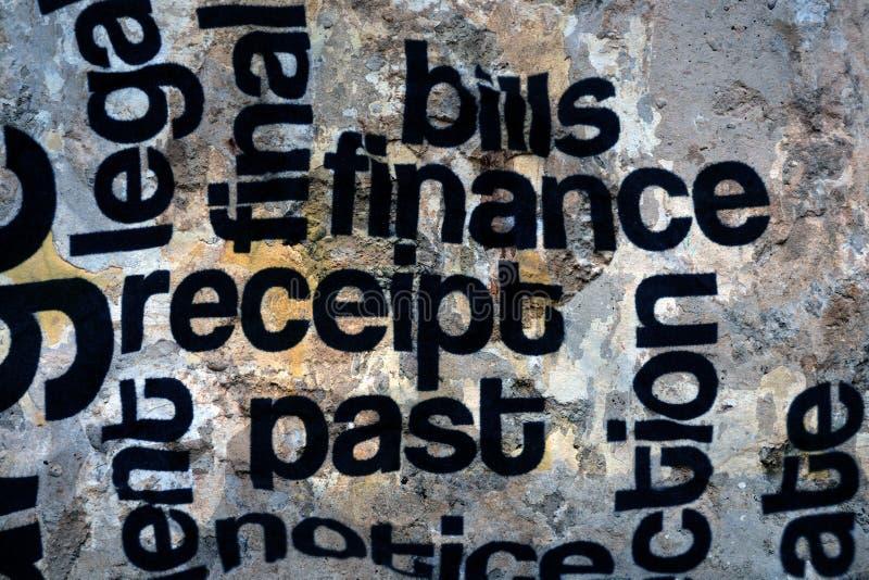 Finansowy kwit wystawia rachunek grunge pojęcie zdjęcia royalty free