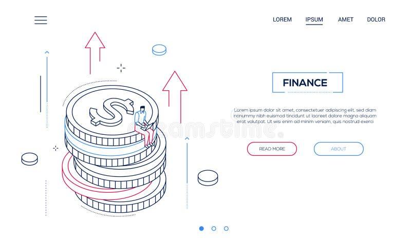 Finansowy pojęcie - kreskowego projekta stylu sieci isometric sztandar ilustracji