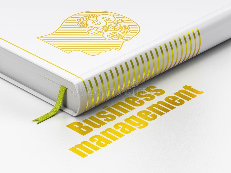 Finansowy pojęcie: książkowa głowa Z Finansowym symbolem, zarządzanie przedsiębiorstwem na białym tle ilustracja wektor