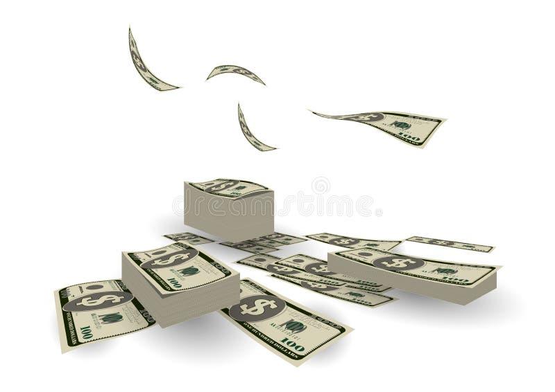 Finansowy stos gotówkowy dolarowego rachunku wymiany waluty pojęcia backg royalty ilustracja