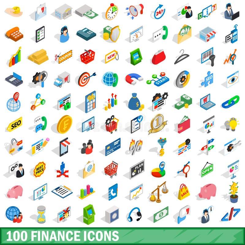 100 finansowych ikon ustawiających, isometric 3d styl ilustracji