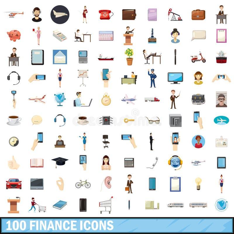 100 finanssymboler uppsättning, tecknad filmstil stock illustrationer