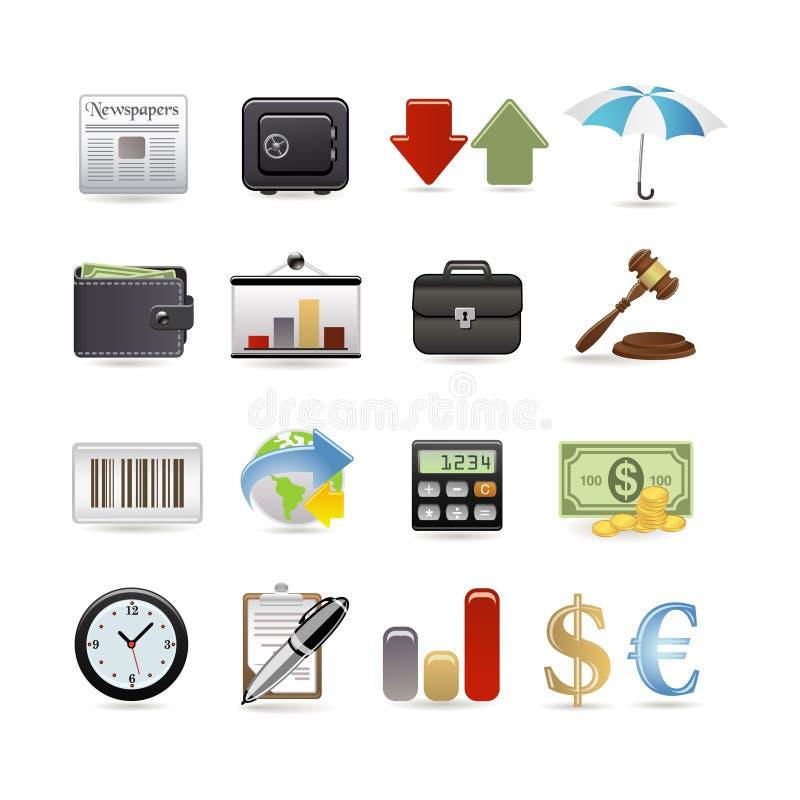 finanssymbolsset vektor illustrationer