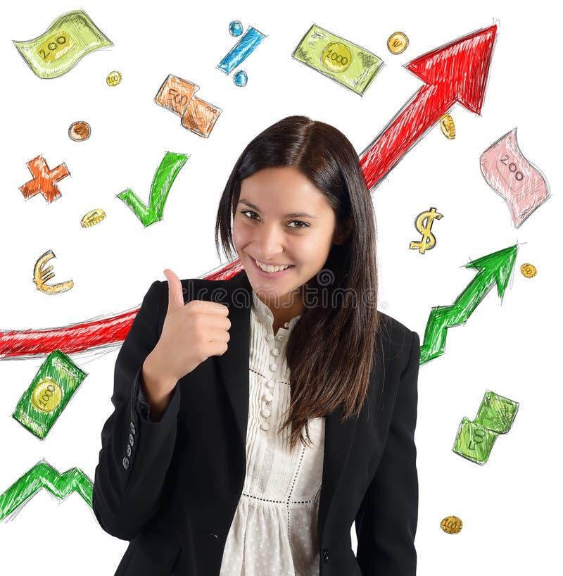 Finanstillväxtaffärskvinna royaltyfri bild