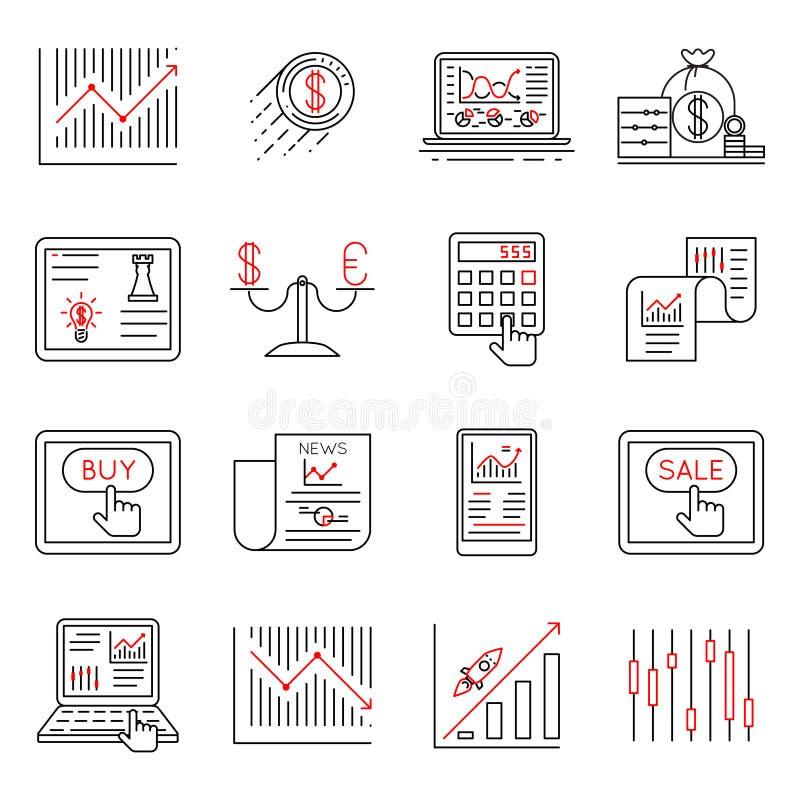 Finansuje kreskowe ikony i zaopatruje, strategia inwestycyjna liniowi znaki wektorowi ilustracji