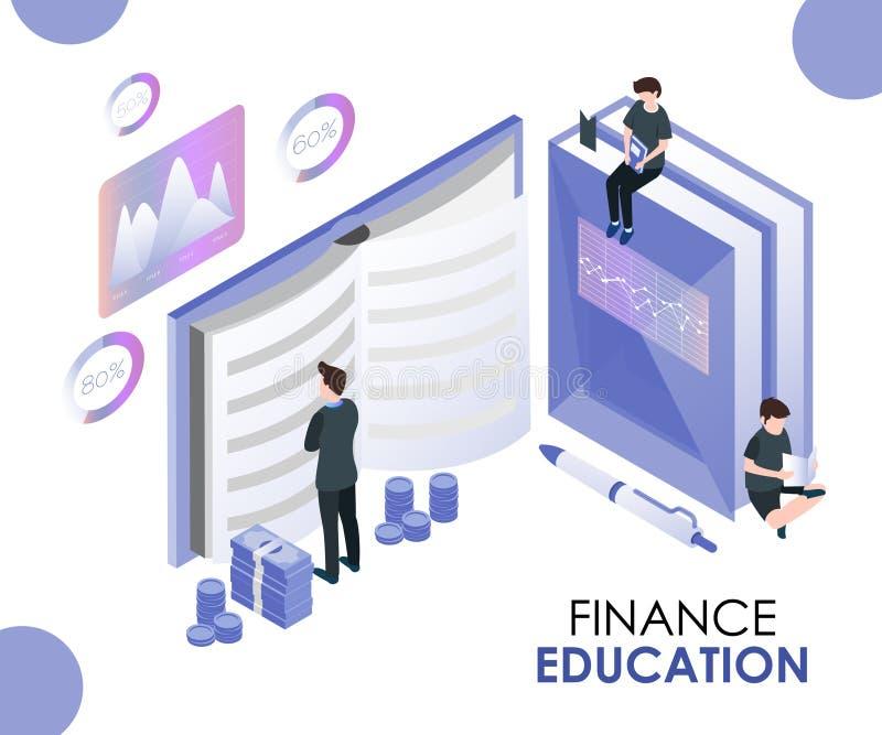 Finansutbildning vars fallen för folket angående hur man sparar isometriskt konstverkbegrepp för pengar royaltyfri illustrationer