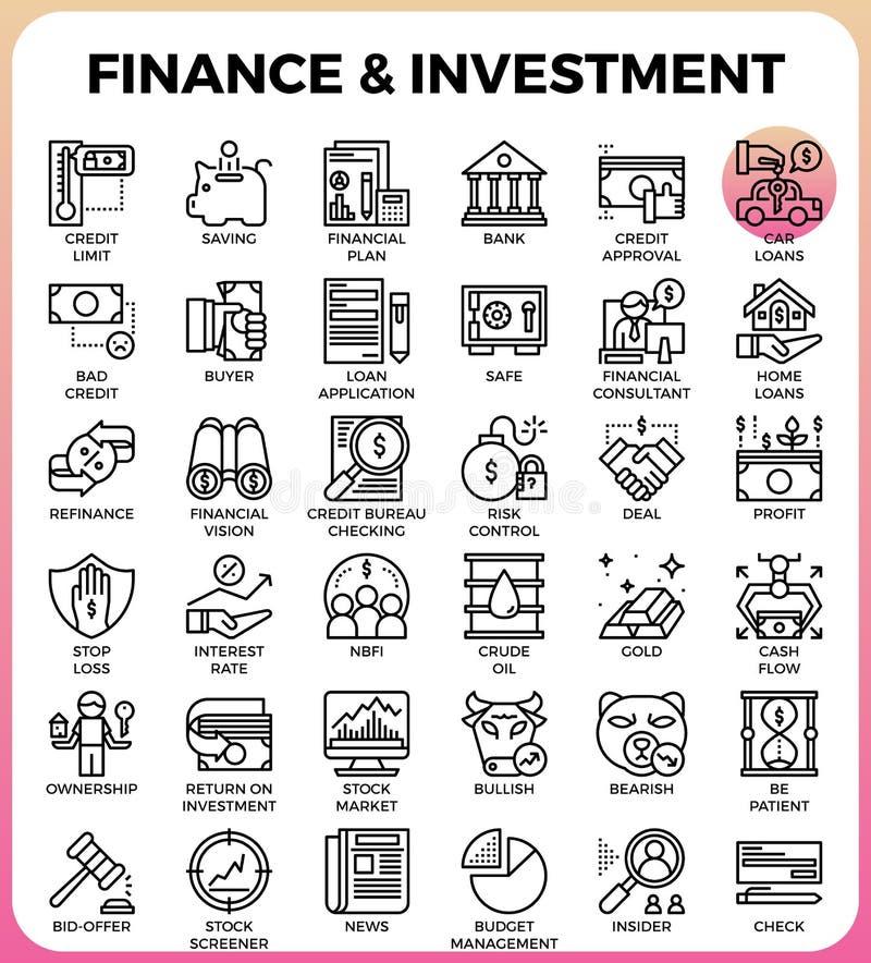 Finanz- u. Investitionskonzeptlinie Ikone vektor abbildung