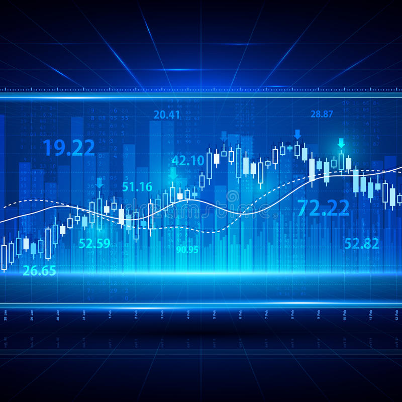 Finanz- und des Geschäfts abstrakter Hintergrund mit Kerzenhalterdiagrammdiagramm Börse-Investitionsvektorkonzept vektor abbildung