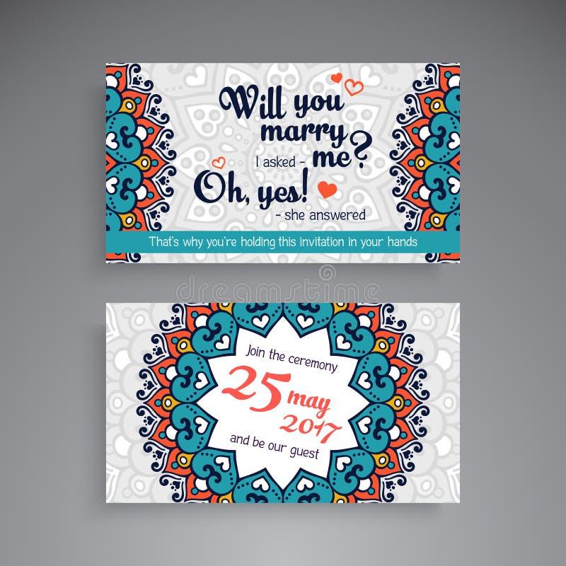 Finanz- und Geschäfts-Serie Dekorative Elemente der Weinlese Dekorative Blumenvisitenkarten oder Einladung mit Mandala stock abbildung