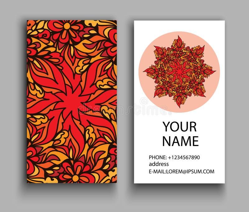 Finanz- und Geschäfts-Serie Dekorative Elemente der Weinlese Dekorative Blumenvisitenkarten, orientalisches Muster lizenzfreie abbildung