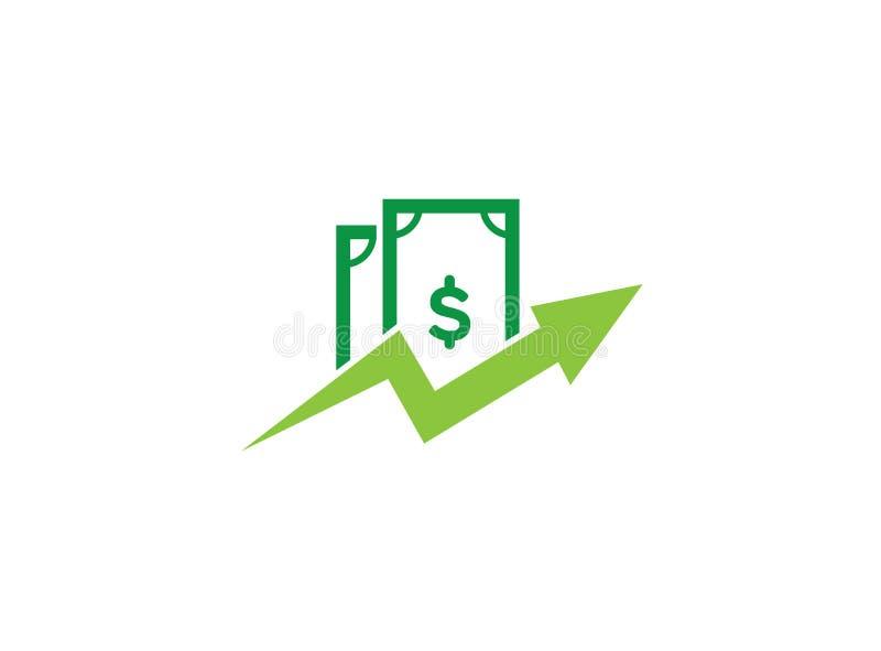 Finanza del grafico della freccia dei soldi per progettazione di logo illustrazione di stock