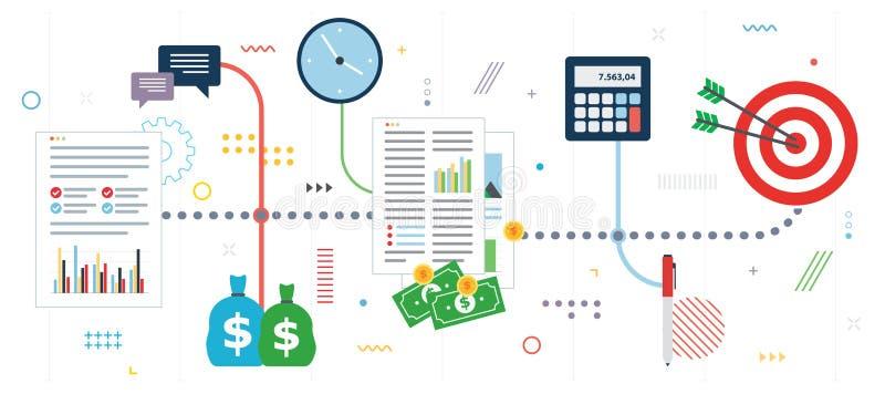 Finanza di affari, investimento ed insieme dell'icona di strategia illustrazione vettoriale