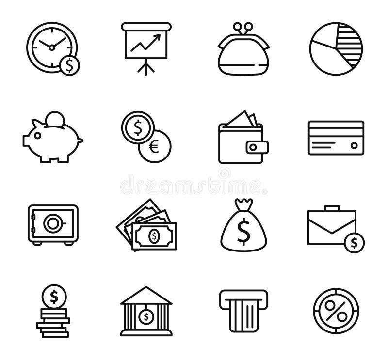 Finanza ed insieme dell'icona della banca illustrazione di stock