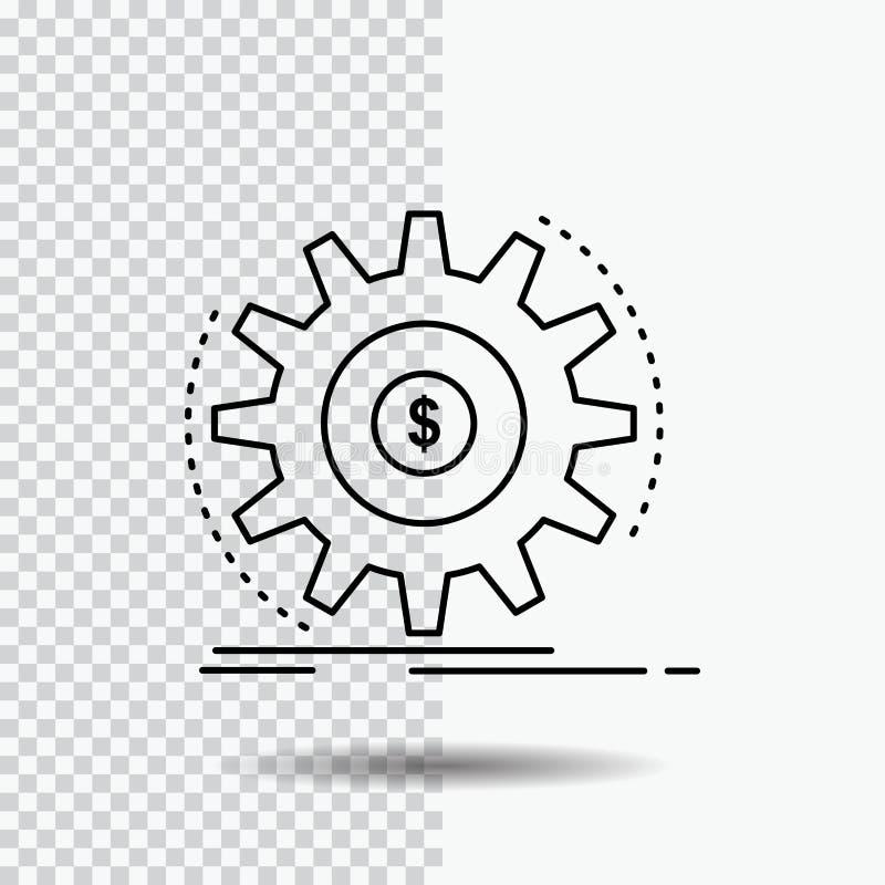 Finanza, flusso, reddito, facente, linea icona dei soldi su fondo trasparente Illustrazione nera di vettore dell'icona illustrazione di stock