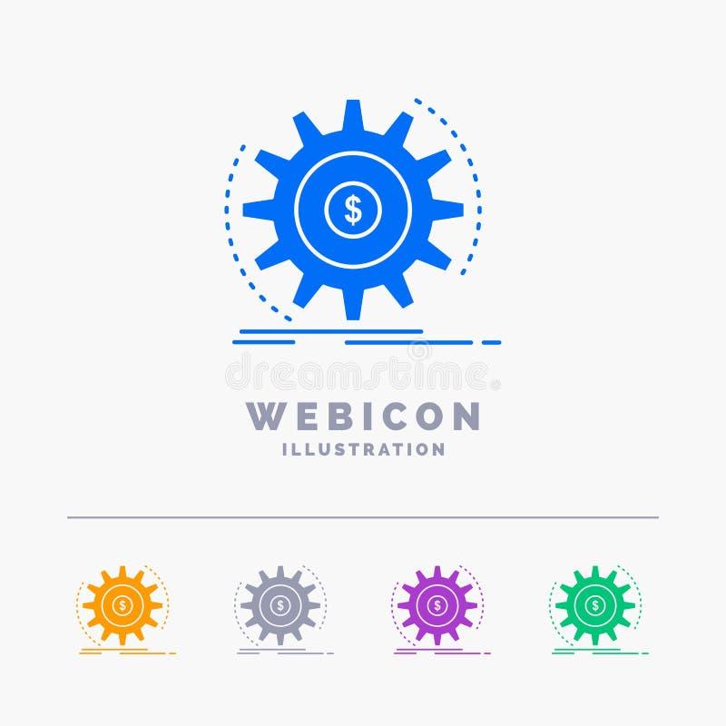 Finanza, flusso, reddito, facente, modello dell'icona di web di glifo di colore dei soldi 5 isolato su bianco Illustrazione di ve illustrazione di stock