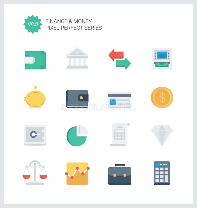 Finanza perfetta del pixel ed icone piane dei soldi illustrazione vettoriale