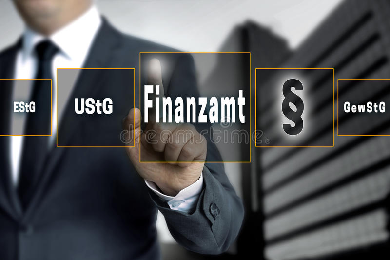 Finanzamt (in german Tax authorities, vat; income, trade tax) to. Uchscreen concept background royalty free stock photo