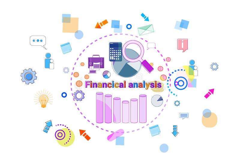 Finanzanalyse-Fahnen-Daten-Studien-Diagramm mit Vergrößerungsglas-Taschenrechner-Konzept stock abbildung