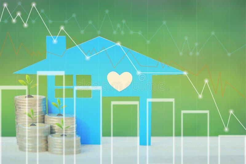Finanzas, árboles que crecen en la pila de dinero de las monedas y casa azul con el gráfico en fondo, tipos de interés y la activ stock de ilustración