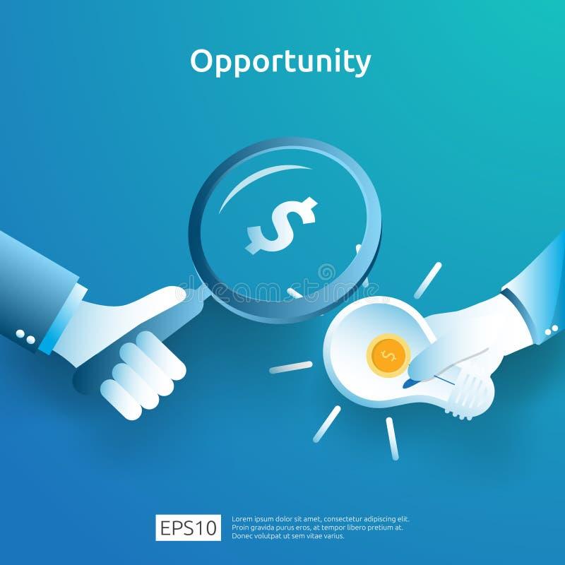 finanzas concepto analítico y de la investigación de la oportunidad con el dólar y la lupa de la bombilla a mano el buscar del in stock de ilustración