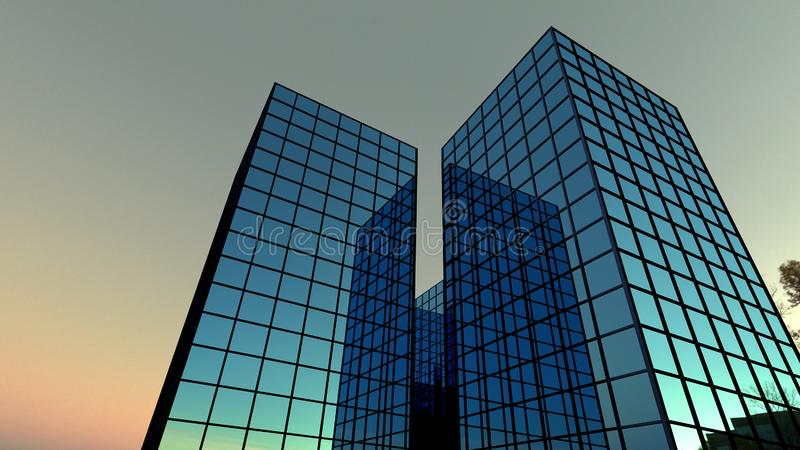 Finanzas de la perspectiva del rascacielos muchos que construyen en el ejemplo azul de las ventanas de cristal 3D de la noche stock de ilustración