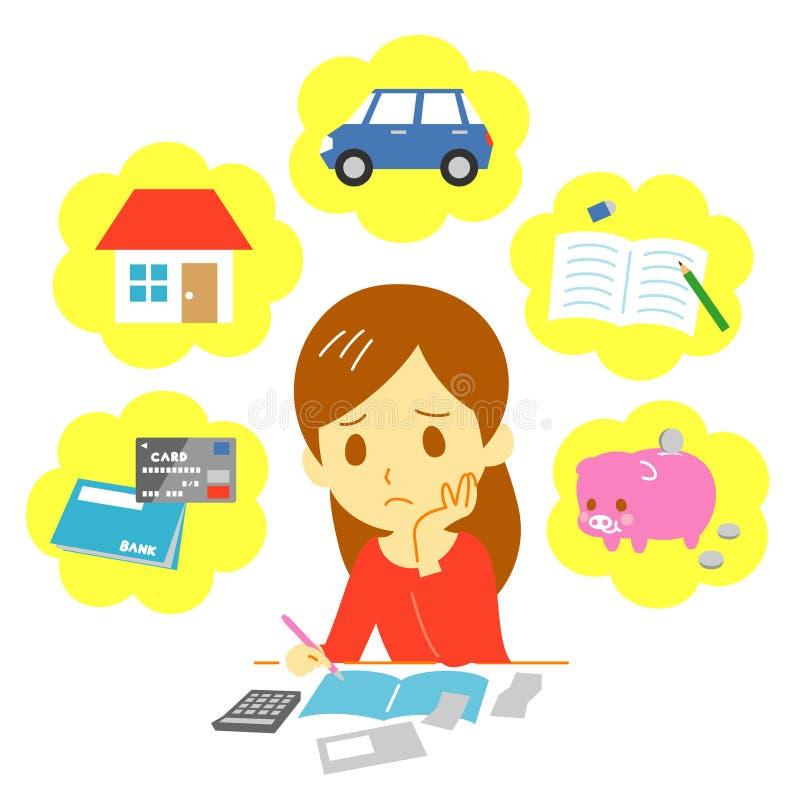 Finanzas de manejo de la familia, gasto stock de ilustración