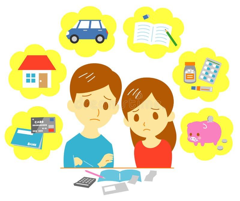 Finanzas de manejo de la familia, pares stock de ilustración