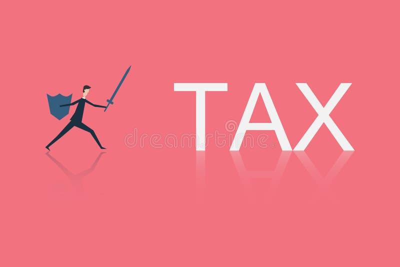 Finanzas del negocio lucha del hombre de negocios con IMPUESTO ilustración del vector
