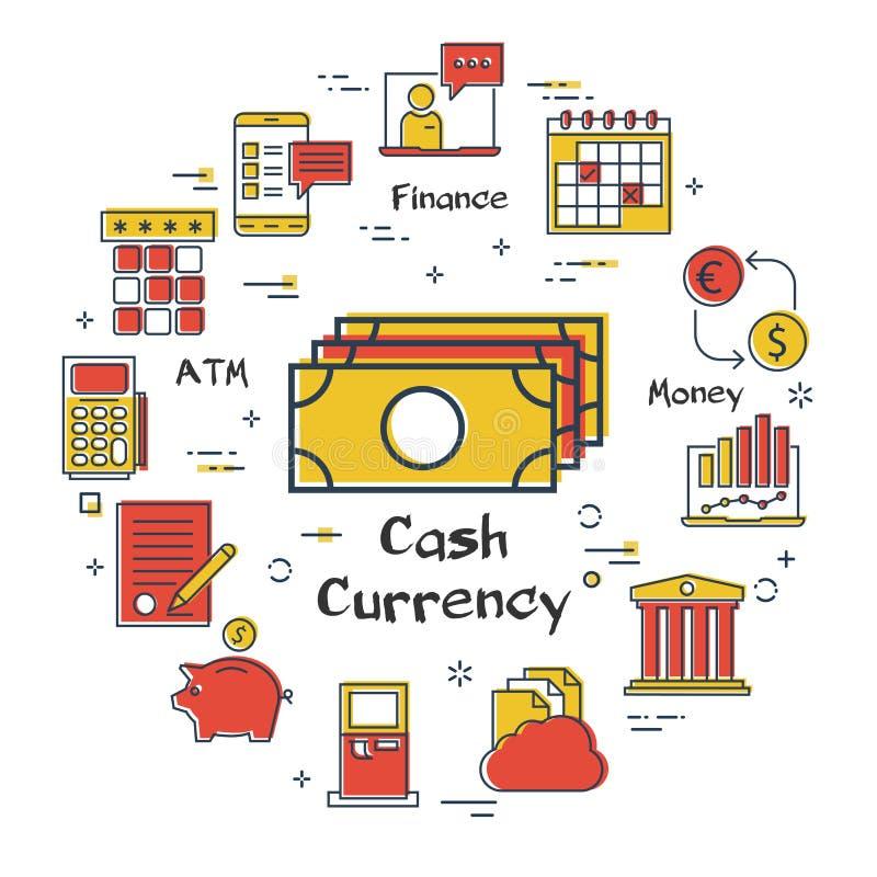 Finanzas del vector y concepto de las actividades bancarias - moneda del efectivo stock de ilustración