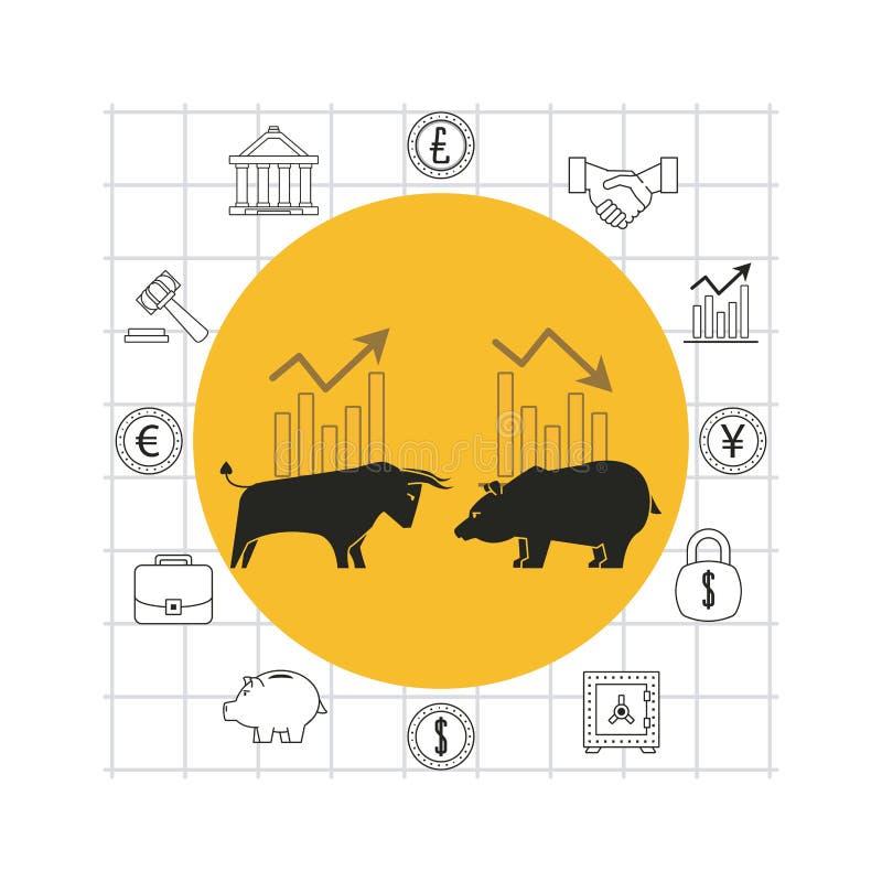 Finanzas e historieta comercial stock de ilustración