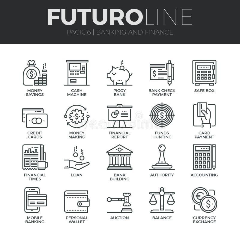 Finanzas y actividad bancaria de la línea iconos de Futuro fijados stock de ilustración