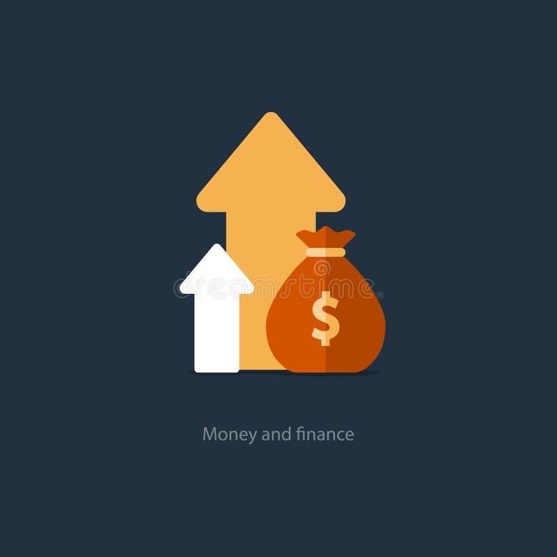 Finanzas y gestión de inversiones, planeamiento del presupuesto, interés compuesto, renta libre illustration