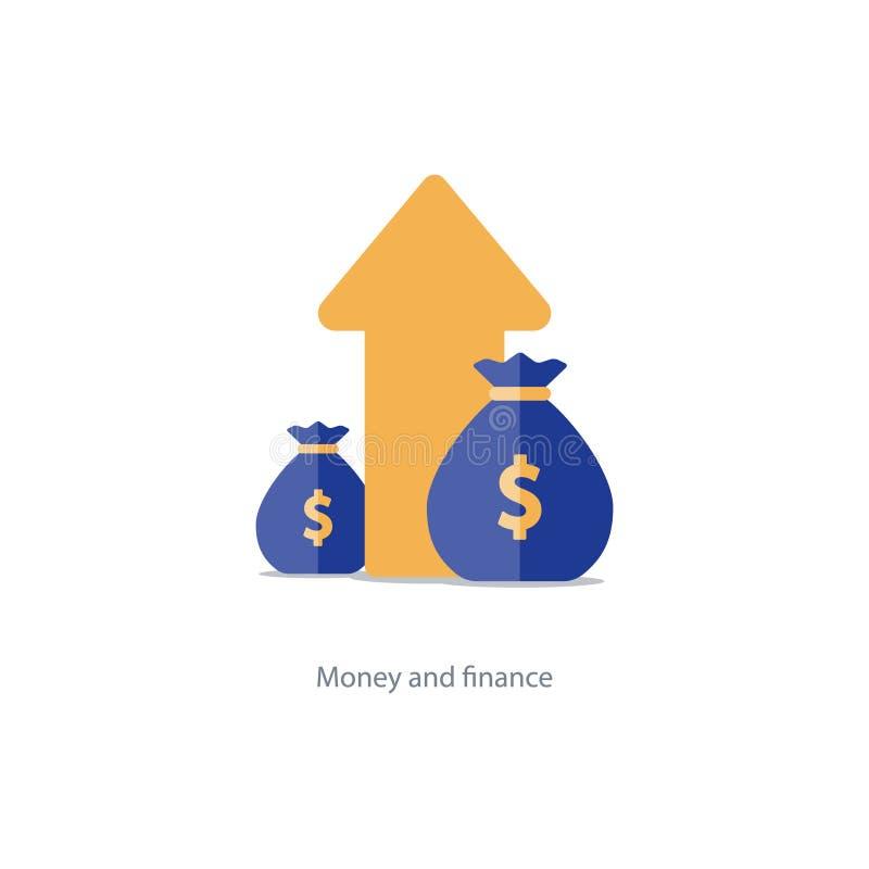 Finanzas y gestión de inversiones, planeamiento del presupuesto, interés compuesto, renta ilustración del vector