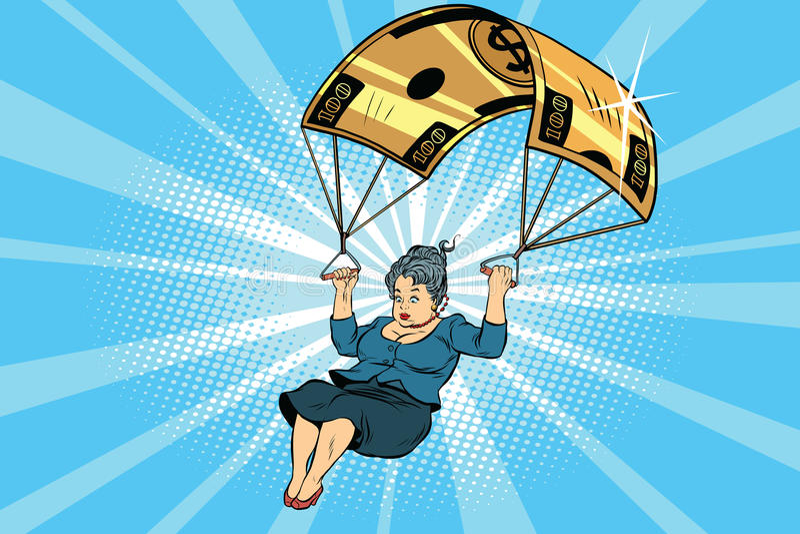 Finanzausgleich des goldenen Fallschirmes der Frau im Geschäft stock abbildung