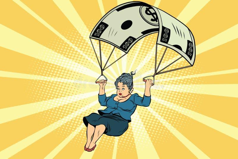 Finanzausgleich des goldenen Fallschirmes der Frau im Geschäft vektor abbildung