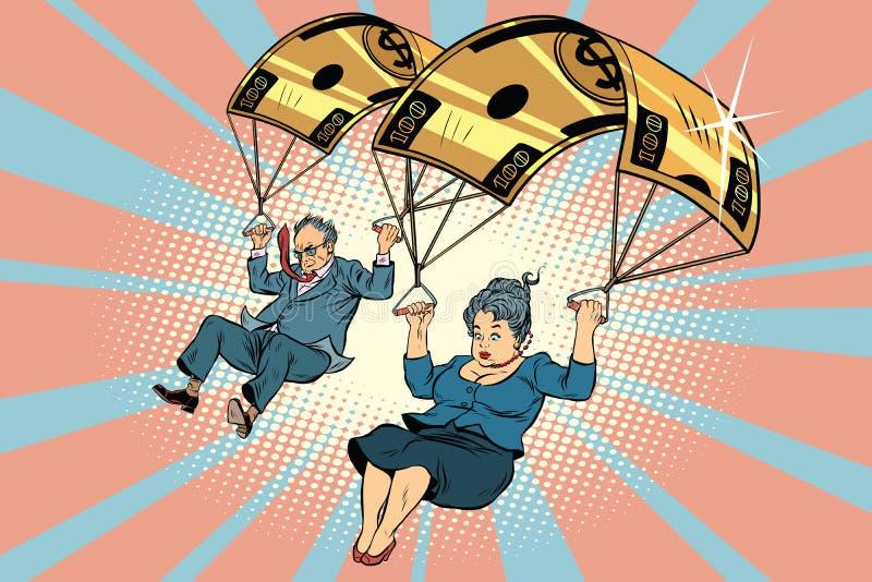 Finanzausgleich des goldenen Fallschirmes im Geschäft stock abbildung