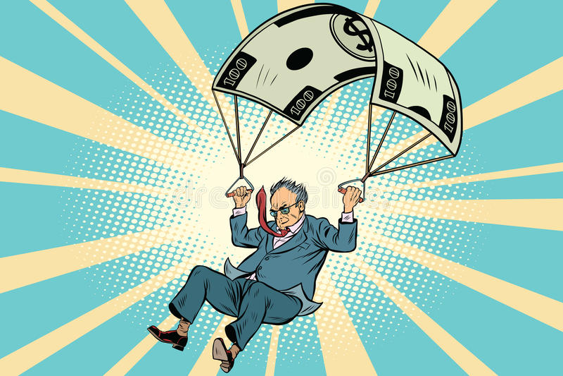 Finanzausgleich des goldenen Fallschirmes im Ruhestand im Geschäft lizenzfreie abbildung