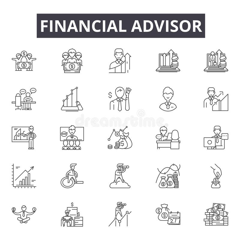 Finanzberaterlinie Ikonen, Zeichen, Vektorsatz, Entwurfsillustrationskonzept vektor abbildung
