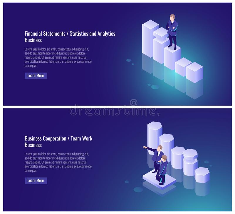 Finanzberichte, Statistiken und, Analytik, Zusammenarbeit zwischen Unternehmen, Teamarbeit, Partner, Geschäftsmann, Diagramm, Erf stock abbildung