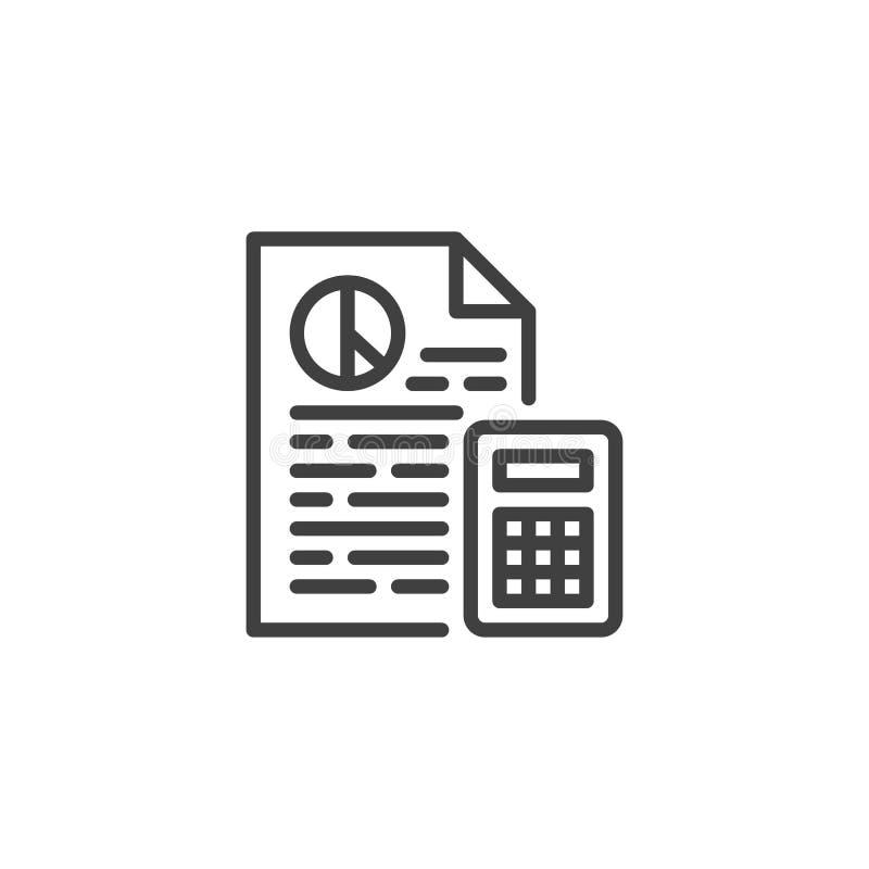 Finanzberichtsdokumentenlinie Ikone vektor abbildung