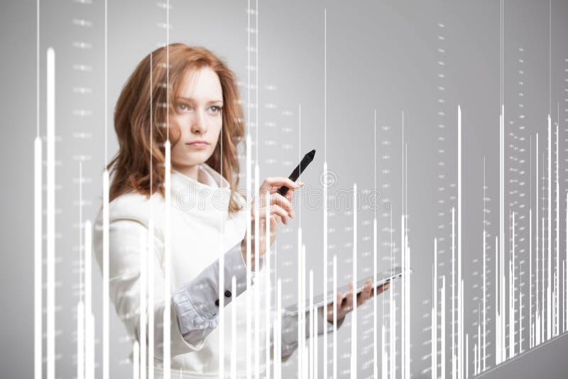 Finanzdaten-Konzept Frau, die mit Analytik arbeitet Diagrammdiagramminformationen über digitalen Schirm lizenzfreies stockbild