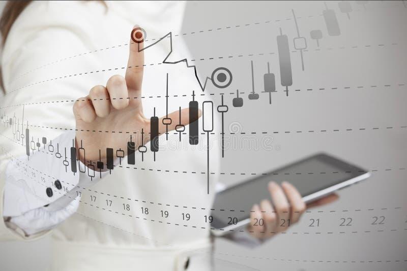 Finanzdaten-Konzept Frau, die mit Analytik arbeitet Entwerfen Sie Diagramminformationen mit japanischen Kerzen auf digitalem Schi lizenzfreie stockfotografie
