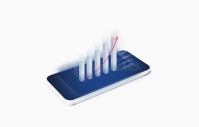 Finanzdatenanalyse, Geschäft und Investitionswachstum Anheben des Balkendiagramms aus mobilem intelligentem Telefonschirm heraus stockfotografie