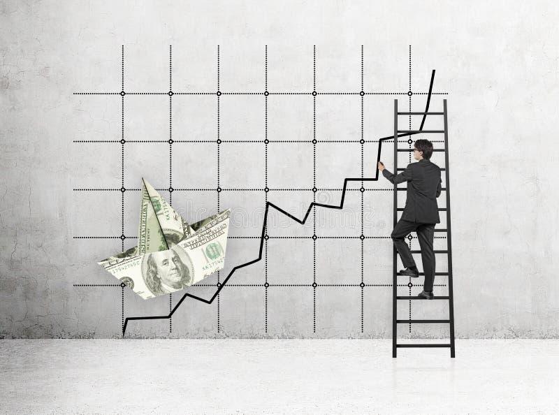 Finanzdiagramm auf Gitter stockfotografie